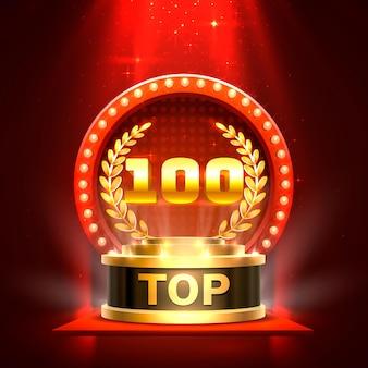Top 100 najlepszy znak na podium, złoty obiekt
