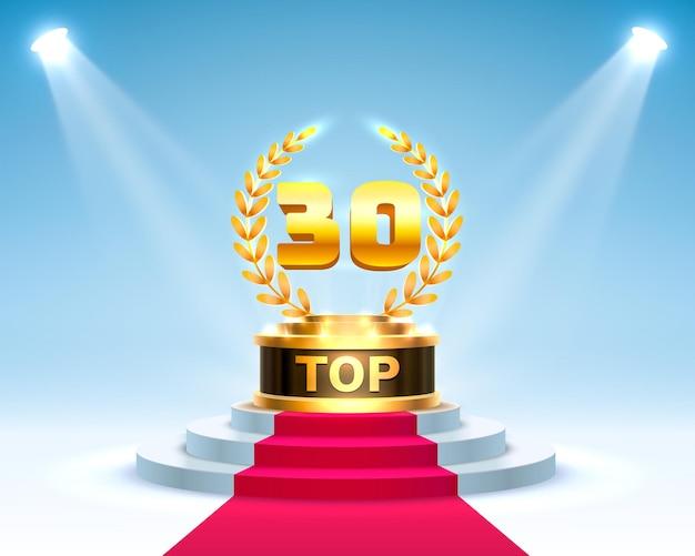 Top 30 najlepszy znak na podium, złoty obiekt