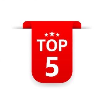 Top 5. czerwona wstążka. płaskie ilustracja na białym tle