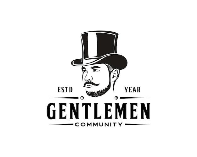 Top hat młody dżentelmen logo vintage