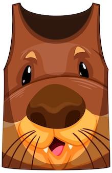 Top na ramiączkach z przodem we wzór wydry