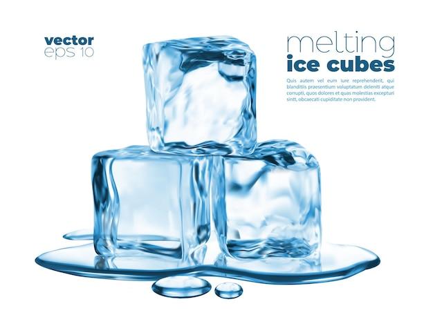Topiące się kostki lodu i niebieska kałuża wody. wektor przezroczystych kawałków lodu, zamrożone kryształy stos w roztopionej puli cieczy. realistyczne bloki lodu. 3d kryształy kostek lodu na białym tle