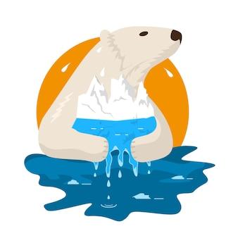 Topniejące lodowce arktyki. niedźwiedź polarny trzyma swój dom w szponach i stara się go chronić.