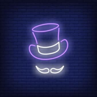 Topper kapelusz i wąs neonowy znak