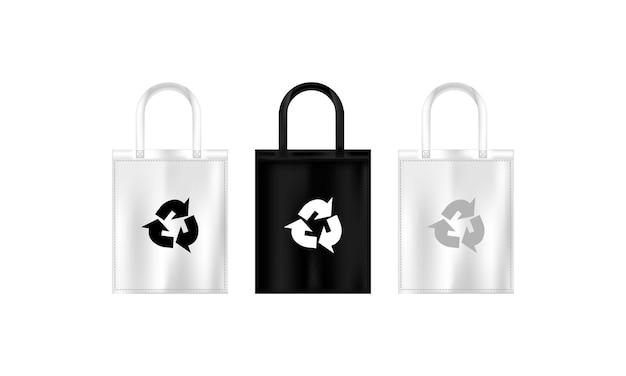 Torba ekologiczna z tkaniny z symbolem recyklingu. płaski ramiak. wektor na na białym tle. eps 10.