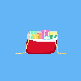 Torba na prezenty piksel santa z pudełka na prezenty. boże narodzenie