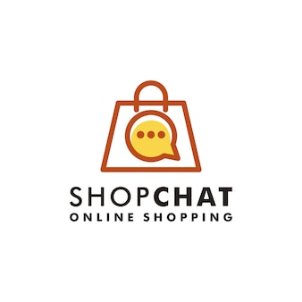 Torba na zakupy czat logo projekt sklepu ikona wektor