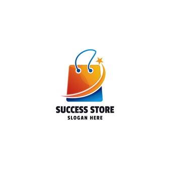 Torba na zakupy gradientowe kolorowe logo szablon