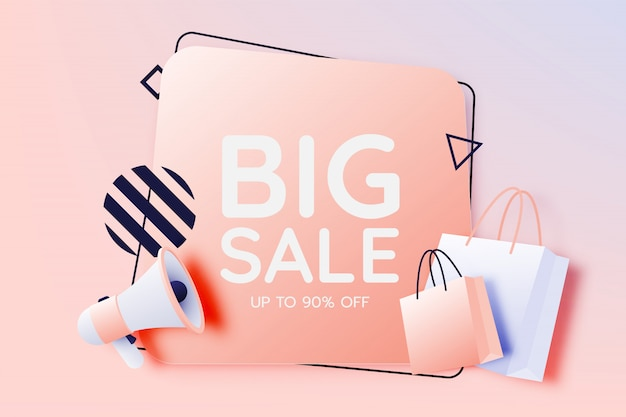 Torba na zakupy i megafon na sprzedaż transparent