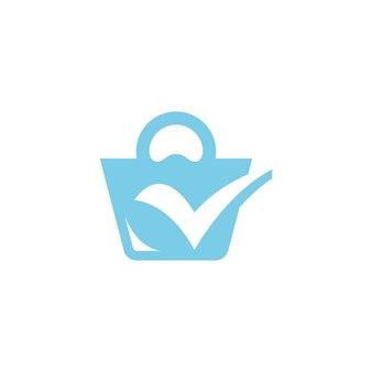 Torba na zakupy i projekt logo ikony znacznika wyboru