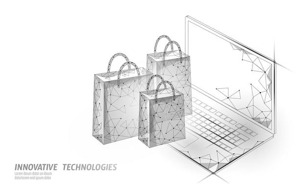 Torba na zakupy . technologia rynku handlu smartfonami w sklepie internetowym.