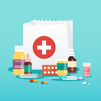 Torba na zakupy z medycznymi pigułkami i butelkami. pojęcie medyczne. styl nowoczesna ilustracja koncepcja.