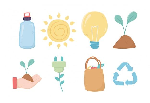 Torba na zakupy żarówki roślin recyklingu butelki środowiska ekologia ikony