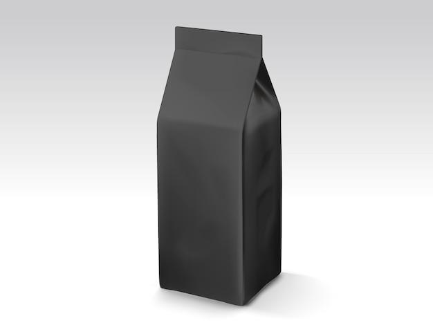 Torba na ziarna kawy lub liście herbaty, szablon torby z ilustracjami do zastosowań, czarna torebka foliowa