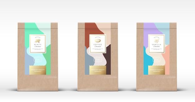 Torba papierowa craft z zestawem czekoladowych etykiet. abstrakcyjny układ opakowań z realistycznymi cieniami.