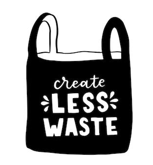 Torba shopper z ręcznie rysowanym napisem. plastic free future i zestaw toreb na zakupy, przechowywanie. ilustracja wektorowa płaski dla sklepu ekologicznego, sklepu z żywnością ekologiczną, banera lokalnego rynku, witryny wegańskiej