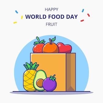 Torba spożywcza pełna owoców ilustracja kreskówka obchody światowego dnia żywności.
