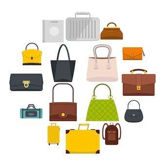 Torba walizki bagażowe ikony ustaw w stylu płaski