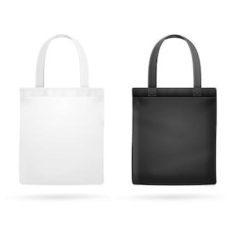 Torba z materiału w kolorze białym i czarnym. ilustracji wektorowych