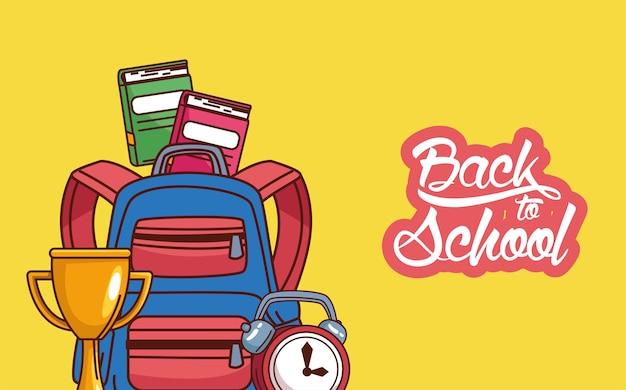 Torba z notatnikami z trofeami i wzorem zegara, klasa edukacyjna z powrotem do szkoły i temat lekcji