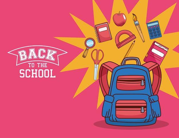 Torba z zestawem ikon, klasą edukacyjną z okazji powrotu do szkoły i tematem lekcji