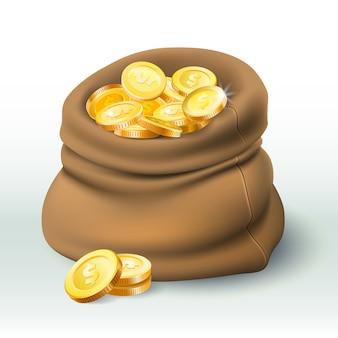 Torba ze złotymi monetami. złote monety bogactwo, duży worek gotówki i pieniądze premii 3d realistyczne ilustracja