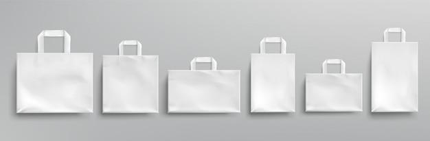 Torby ekologiczne z białego papieru różne kształty.