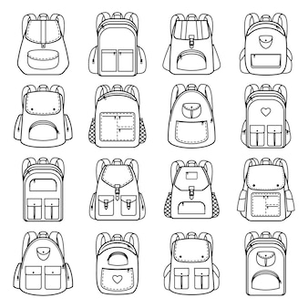 Torby liniowe ikony opakowania. plecaki z linii wektorowej do podróży i turystyki, studentów i szkoły