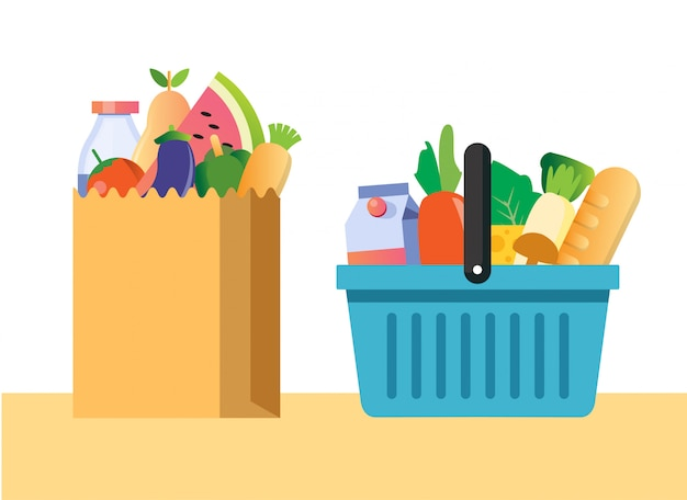 Torby na zakupy i kosze zestaw płaskich ilustracji. zakupy spożywcze, opakowania papierowe i plastikowe z produktami. naturalna żywność, ekologiczne owoce i warzywa. towary z domów towarowych.
