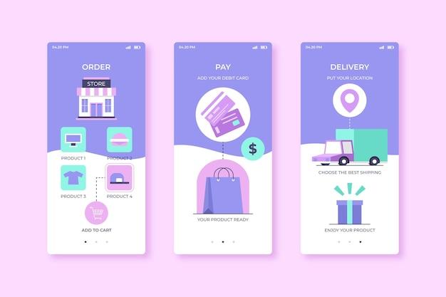 Torby na zakupy kupują online aplikację mobilną