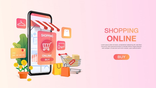 Torby na zakupy w wózku na komórkę lub smartfona. zakupy szablon strony internetowej. koncepcja aplikacji sklepu mobilnego. marketing i marketing cyfrowy. .