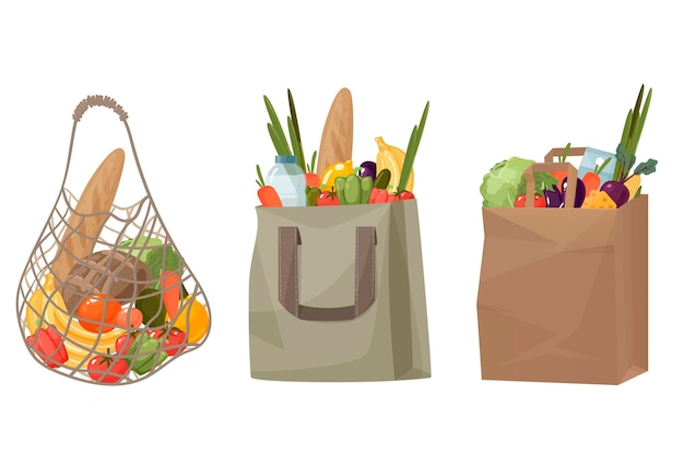 Torby na zakupy wykonane z siatki, papieru i bawełny z warzywami i owocami