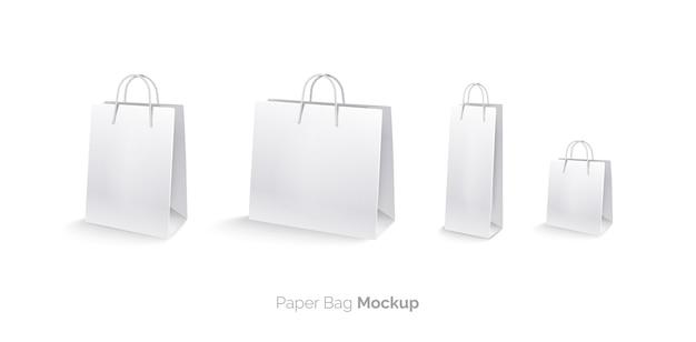 Torby papierowe zestaw mocap torby na zakupy izolowany na białym tle duża torba średnia torba mała torba torba na butelkę realistyczna ilustracja wektorowa 3d