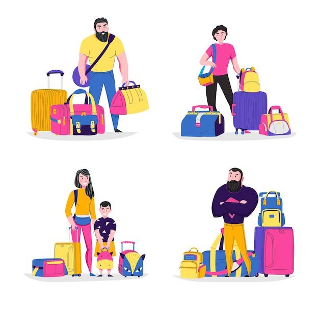 Torby podróżne koncepcja ikony zestaw z symbolami turystyki płaskie na białym tle