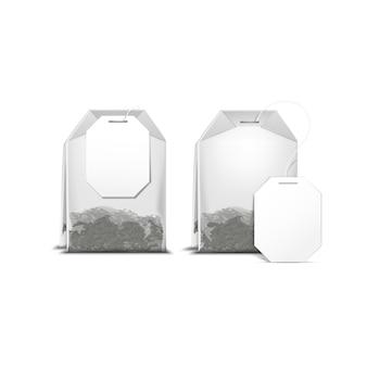 Torebka torebka herbaty z białą etykietą na białym tle