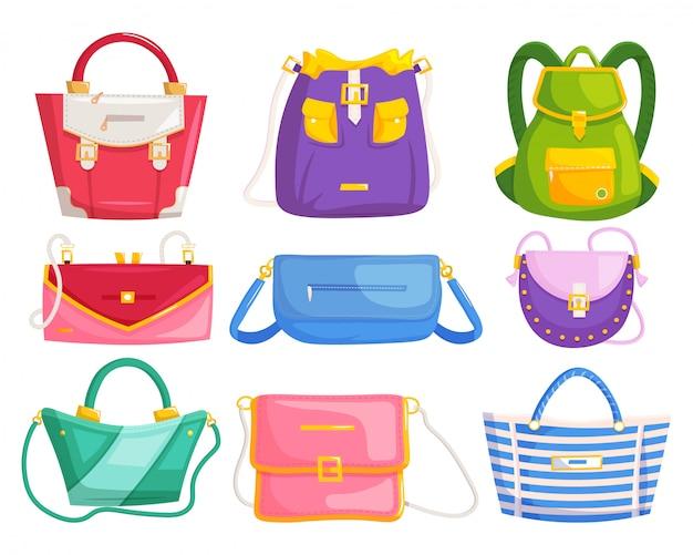 Torebki damskie zestaw kosmetyków torebki nowoczesnej kobiety. torebki, plecaki z uchwytami i paski na ramię. kolekcja przepięknych akcesoriów glamour
