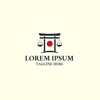 Torii japan law logo ikona szablon projektu. sprawiedliwość, prawnik.