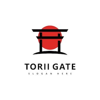 Torii logo ikona japoński wektor ilustracja projekt
