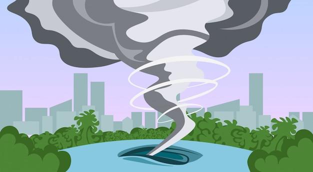 Tornado w wiejskim huraganie krajobraz burzy waterspout twister w polu koncepcja katastrofy naturalnej