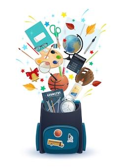 Tornister z materiałami edukacyjnymi dla uczniów z powitaniem z powrotem do szkoły. plecak z książkami, kalkulatorem i globusem, farbą, pędzlem i kolbami, nożyczkami, klejem i budzikiem, klejem i piłką