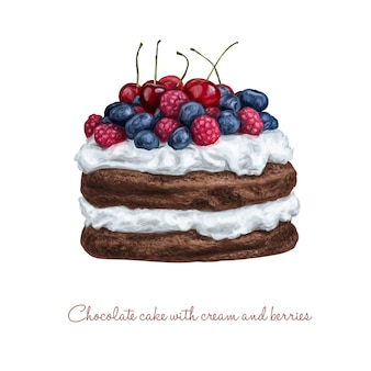 Tort czekoladowy ze śmietaną i jagodami