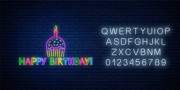 Tort urodzinowy celebracja symbol w stylu neon z alfabetem. zadowolony urodziny świecący neon znak z tortem, świecą i komiksem napis na tle ciemnej cegły ściany. ilustracja wektorowa.