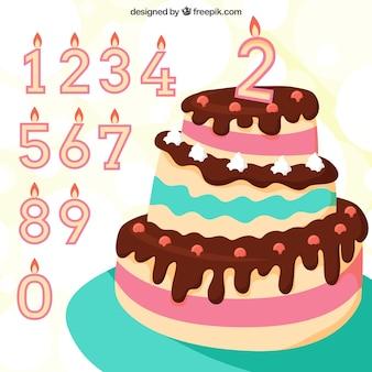 Tort urodzinowy i świeczki tła
