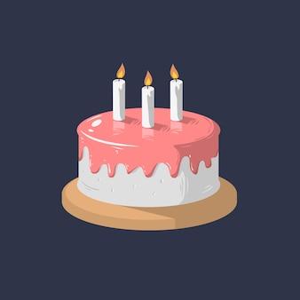 Tort urodzinowy ikona ze świecami.