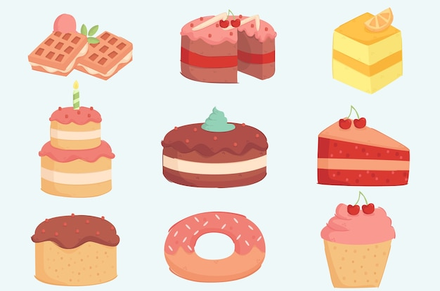 Tort urodzinowy ilustracja zestaw dekoracji