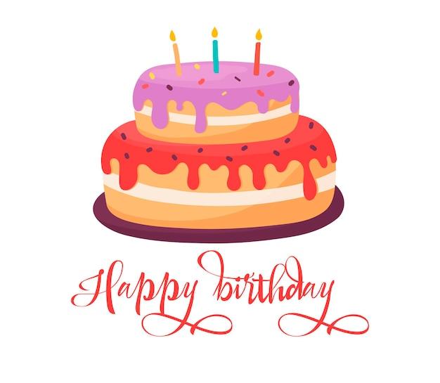Tort urodzinowy karta kreskówka wektor