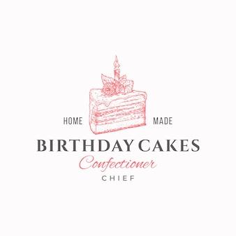 Tort urodzinowy szef najwyższej jakości szablon logo słodyczy ręcznie rysowane kawałek ciasta i typografia piekarnia