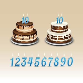 Tort urodzinowy z numerami świec flame fire light.