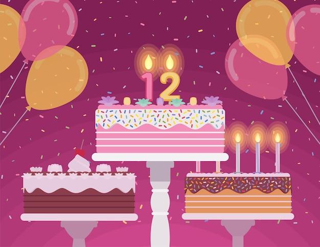 Tort urodzinowy z numerami świec
