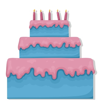 Tort urodzinowy z płonącymi świeczkami płaską ilustracją
